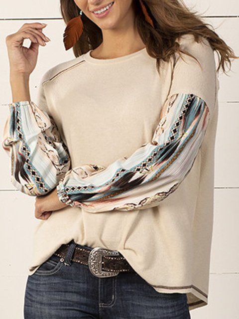 Country loose round neck casual knitted stitching ethnic comfortable T-shirt