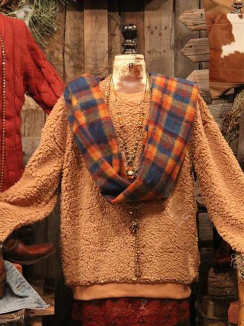 Vintage Crew Neck Cotton-Blend Long Sleeve Sweatshirt