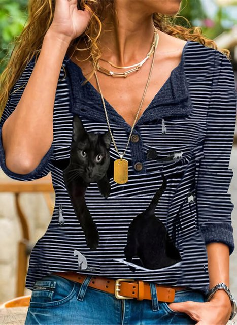 Long Sleeve Casual Stripes Shirts & Tops