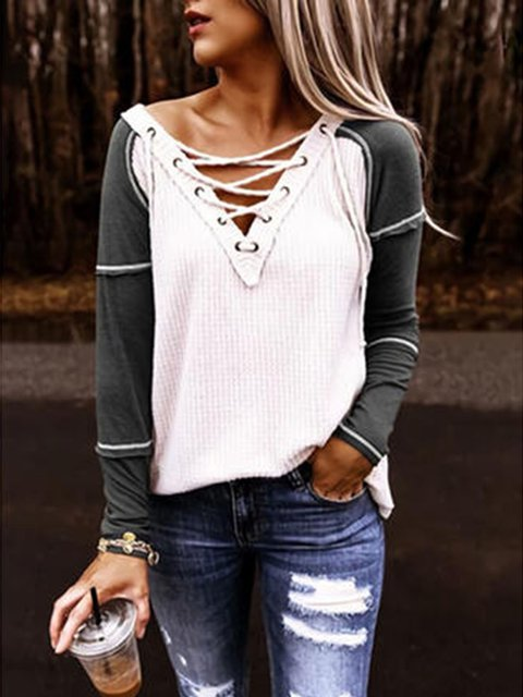 Block V-Neck Long Sleeves Casual Blouses
