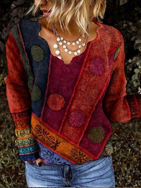 Vintage Cotton-Blend Long Sleeve Shirts & Tops
