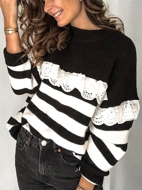 Casual Long Sleeve Cotton Crew Neck Sweater