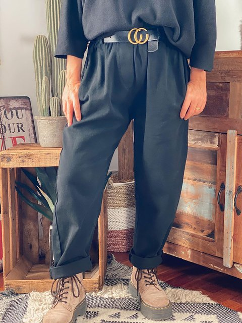 Black Casual Loose Solid Pants