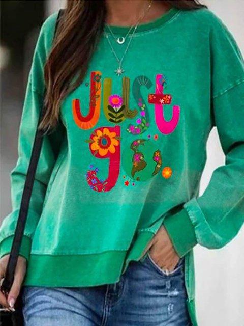 Cartoon Font Just Go With Floral Print Lively High Low Slit Hem Sweatshirt