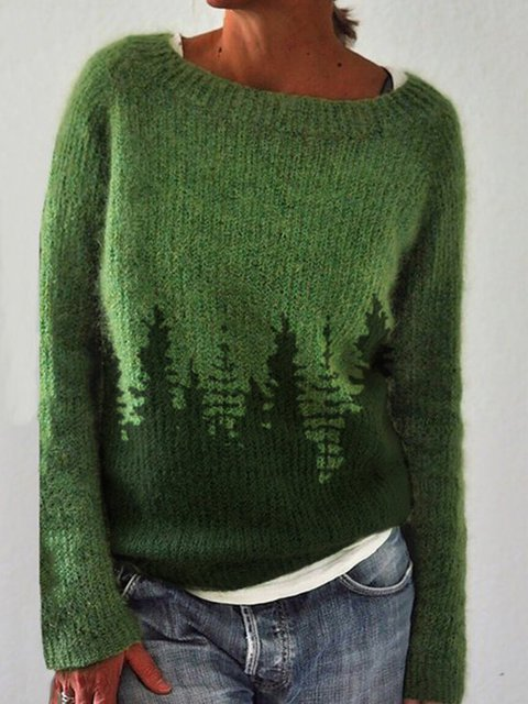 Long Sleeve Casual Shift Christmas Snowman Sweater