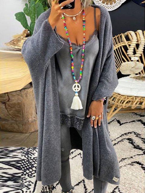 Shift Casual Plain Long Sleeve Outerwear