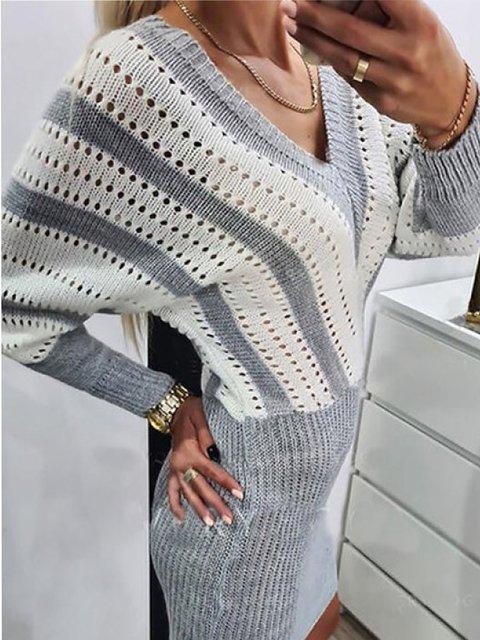 V-neck contrast woolen casual cashmere dress
