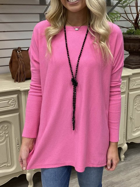 Solid Long Sleeve Round Neck Solid Shirts & Tops