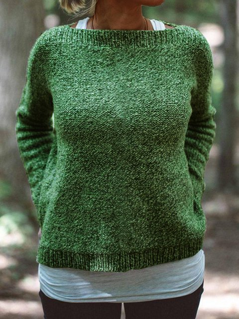 Casual Shift Cotton-Blend Long Sleeve Sweater