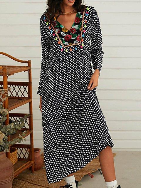 Floral Polka Dot Print Patchwork Tassels Long Sleeve Dress