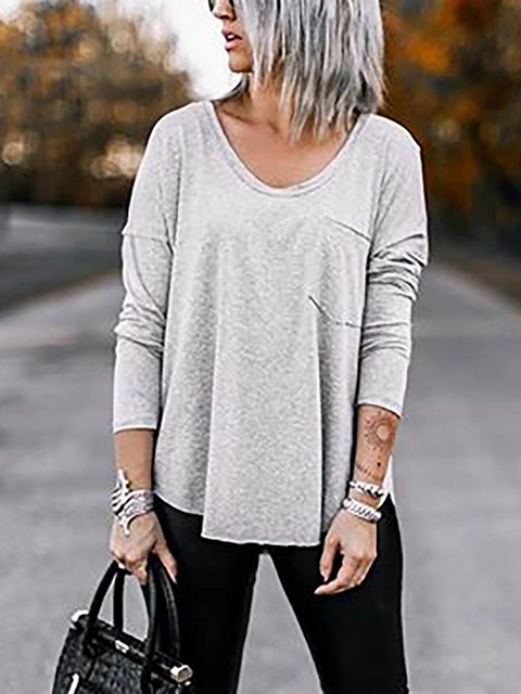 Casual Cotton-Blend Long Sleeve V-neck Shirts & Tops