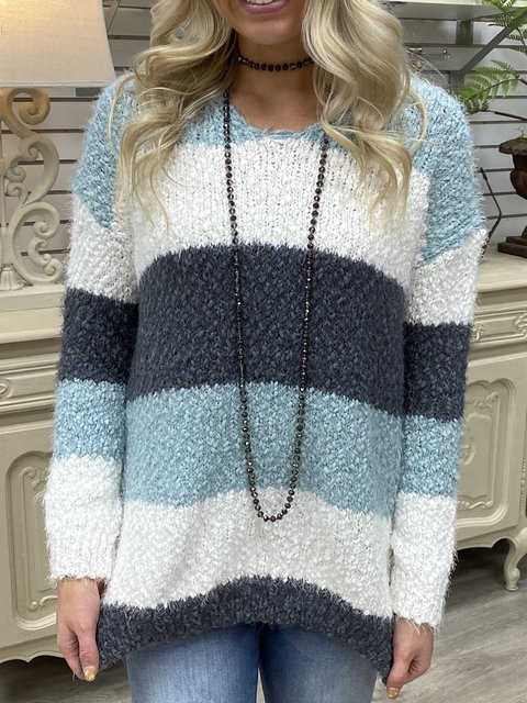 Striped Long Sleeve Round Neck Casual Sweater