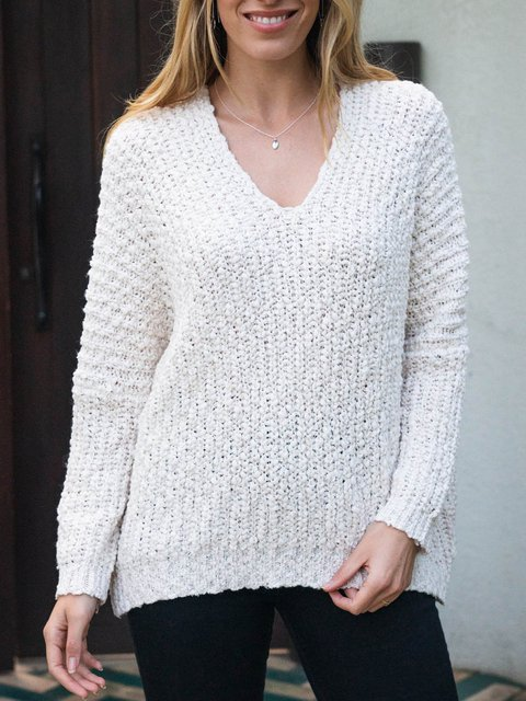 Solid Loose Long Sleeve V-Neck Sweater