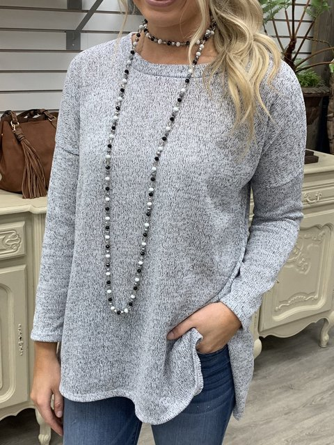 Casual Round Neck Long Sleeve Solid Sweater