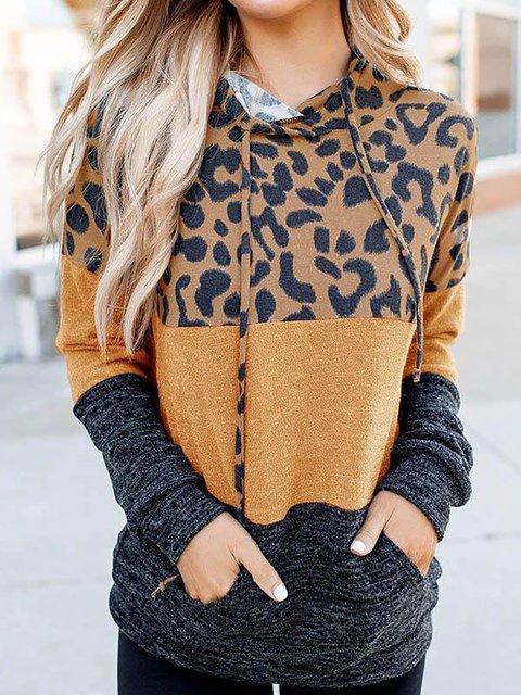 Color-block Leopard Print Drawstring Pile Neck Hoodie Tops
