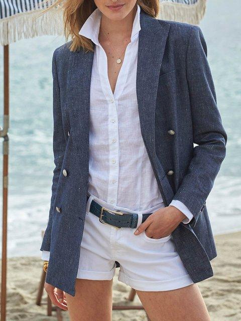 Cotton-Blend Linen Lapel Casual Stretch Blazer