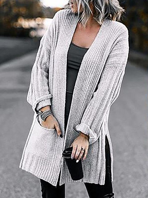 Soft Ribbed Knit Solid Long Sleeve Cardigan