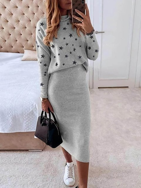 Star Print Long Sleeves Tops Casual Midi Dresses Sets