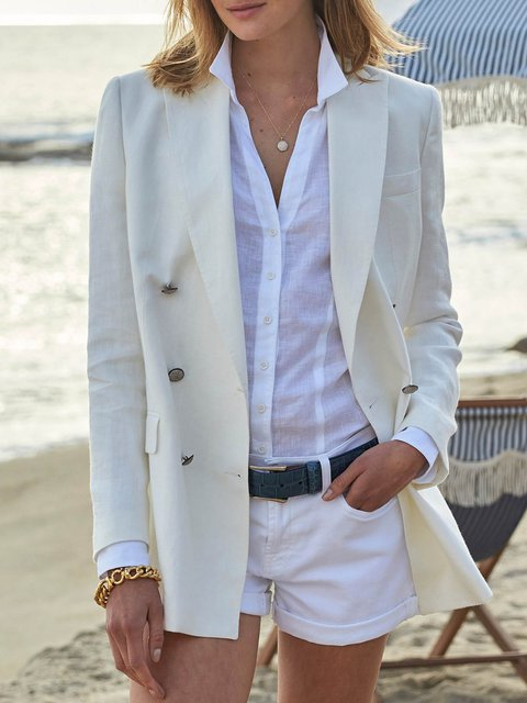 Solid Long Sleeve Casual Cotton-Blend Linen Blazer