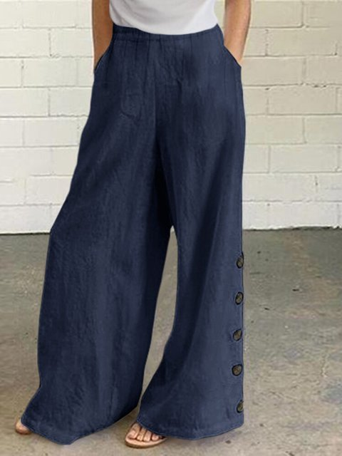 Solid Color Button Casual Pants With Pocket