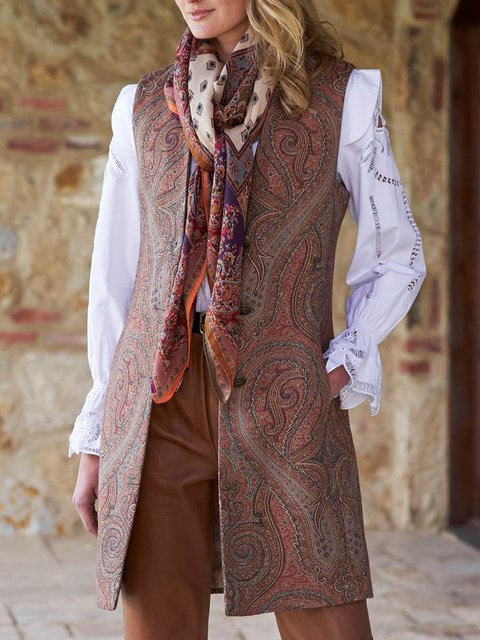 Brown Paisley Cotton-Blend Paneled  Vests