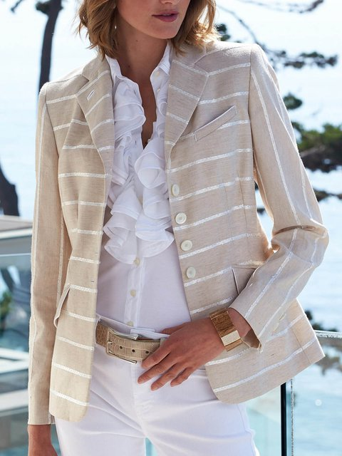 Casual Linen Striped Long Sleeve Outerwear