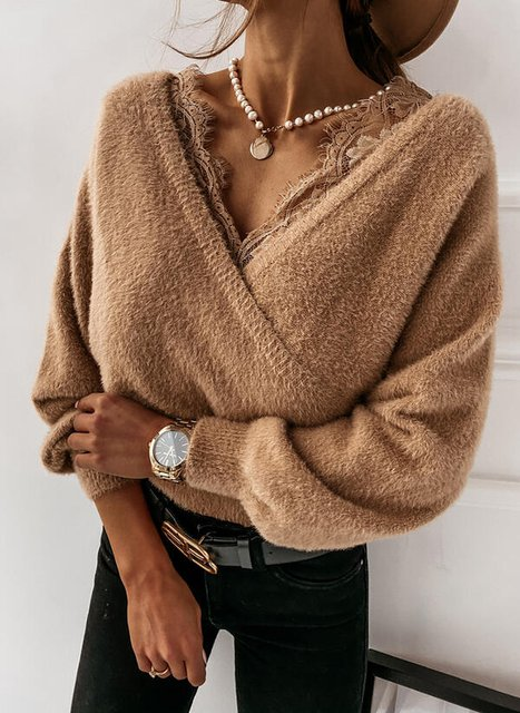 Casual V Neck Long Sleeve Acrylic Sweater