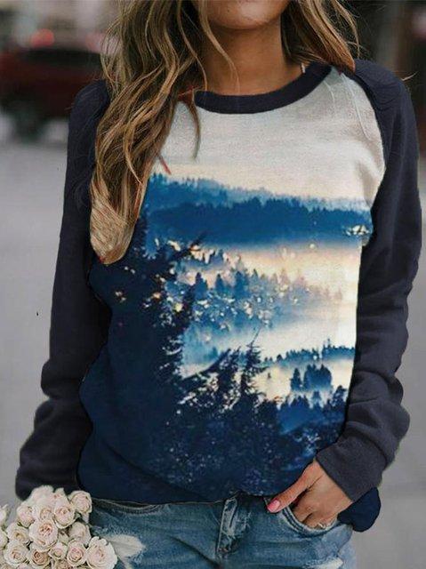 Women's branch silhouette print casual long-sleeved sweatshirt