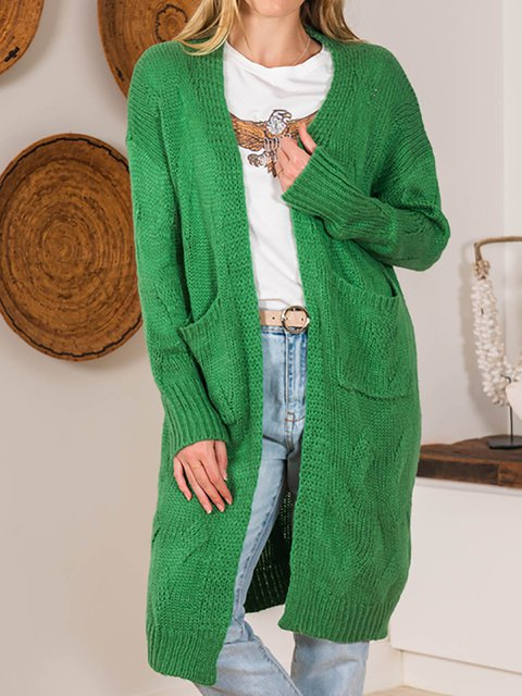 Green Casual Loose Long Sleeve Cardigan Sweater
