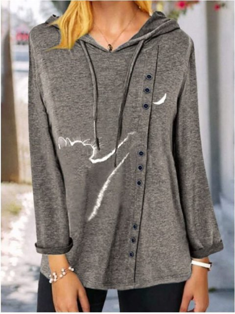 Casual Loose Printed Button Hooded Long-Sleeved Blouse