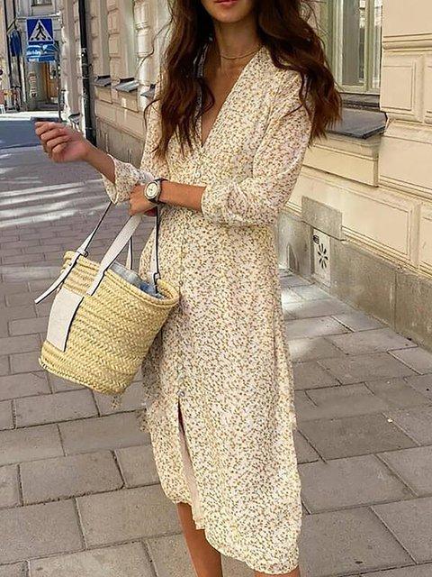 Print 3/4 Sleeves Sheath Casual Elegant Midi Dresses