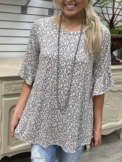 3/4 Ruffle Sleeves A-Line Cotton-Blend Shirts & Tops