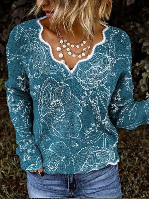 Women Casual Flowers Print V Neck Sweater