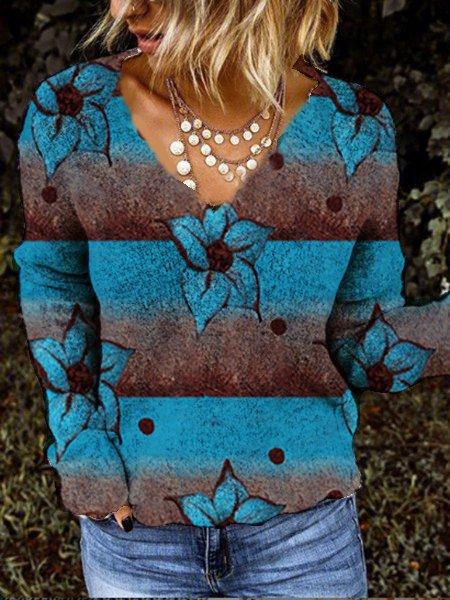 Long Sleeve Floral Shift Casual Sweatshirt
