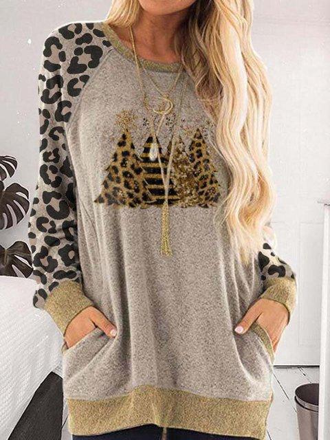 Ladies Leopard Wood Print Pocket Top
