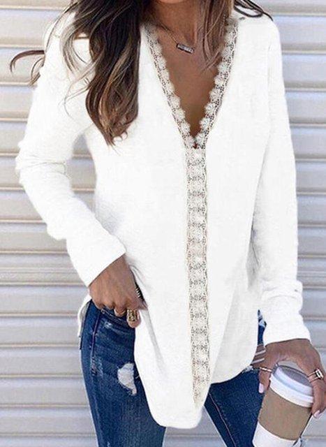 Plain Long Sleeve V Neck Casual Shirts & Tops
