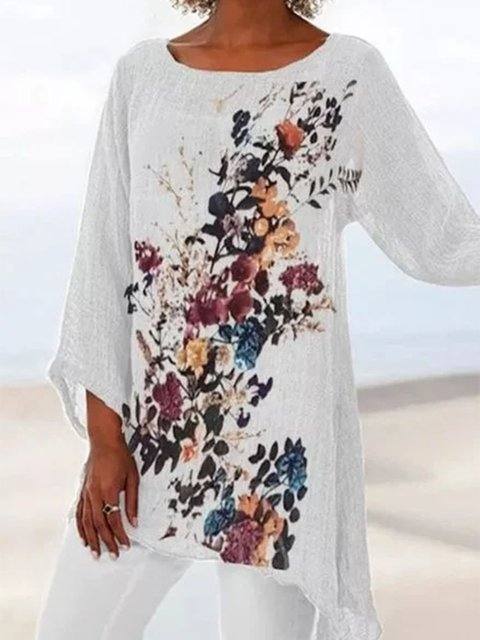 Casual Round Neckline 3/4 Sleeves Blouses