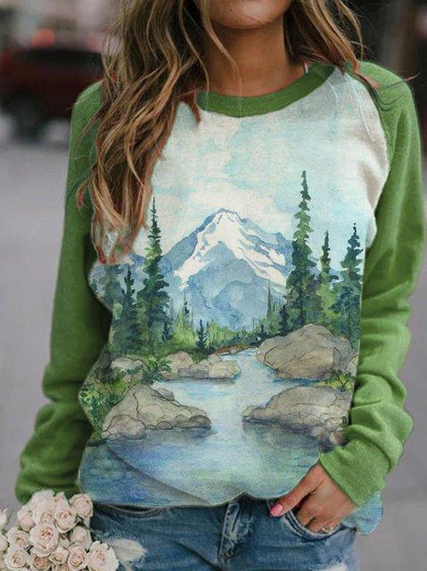 Women's mountain treetop print colorblock round neck sweatshirts