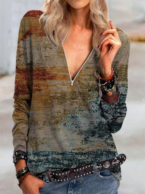 Women's Landscape Print Long Sleeve V-Neck Zip T-Shirt