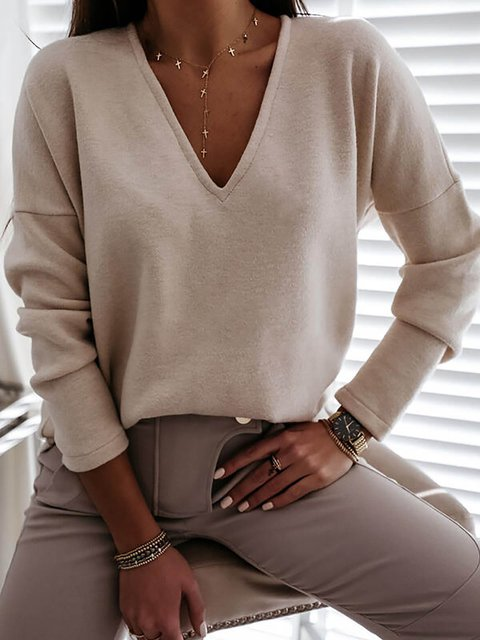 Solid Color V-neck Long Sleeves Casual T-shirts