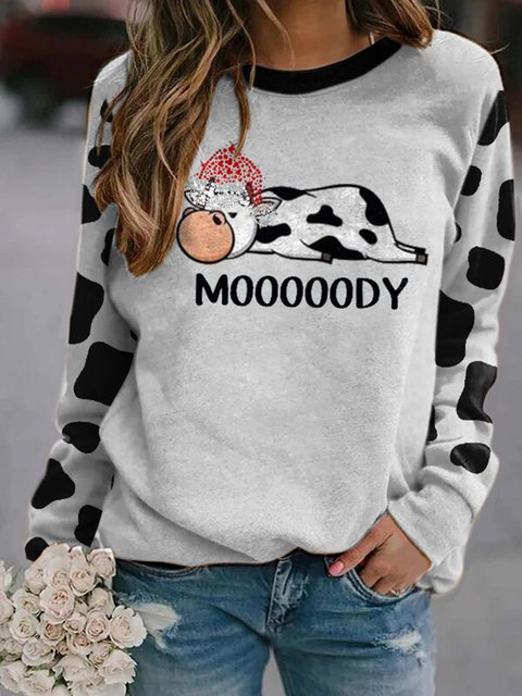 Cozy Cow Wearing With Christmas Hat Print Round Neck Sweatshirt