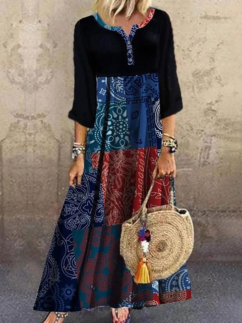 Ethnic Print Patchwork Long Sleeve Vintage Maxi Dress