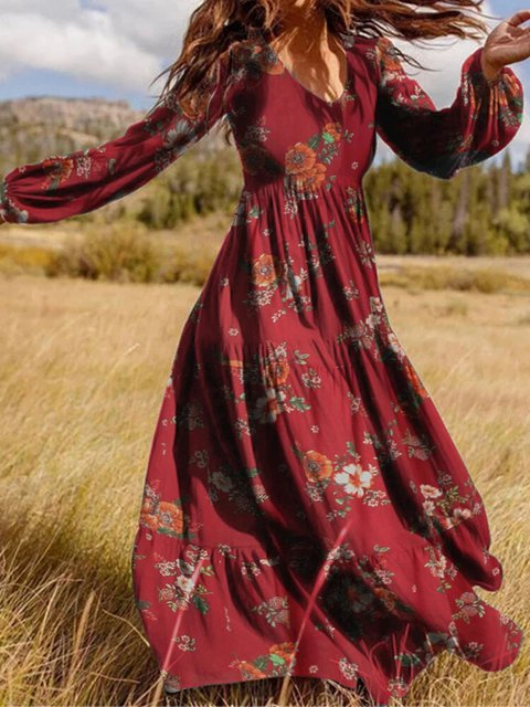 Women Vintage Floral Print V-Neck Back Zipper Puff Sleeve Maxi Dresses