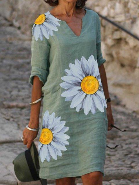 Floral Casual V Neck Dresses
