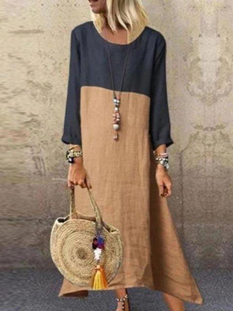 Vintage Color-block Long Sleeves Maxi Dress