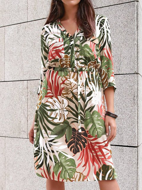 Holiday Printed V Neck Dresses