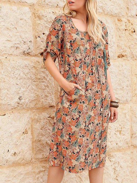 Crew Neck Printed Half Sleeve Floral Dresses