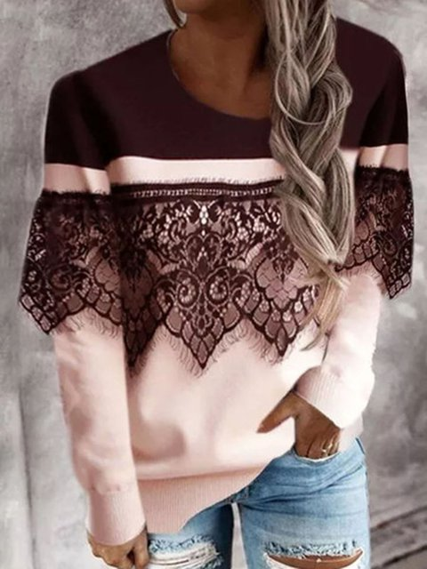 Lace Color Block Round Neck Pullover Long Sleeve Top