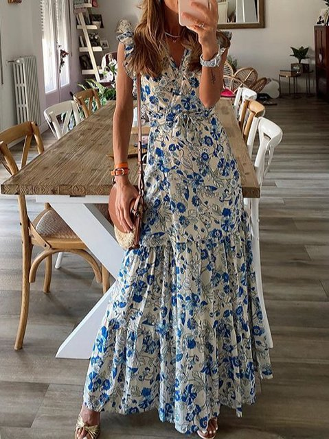 V Neck Women Dresses Casual Dresses