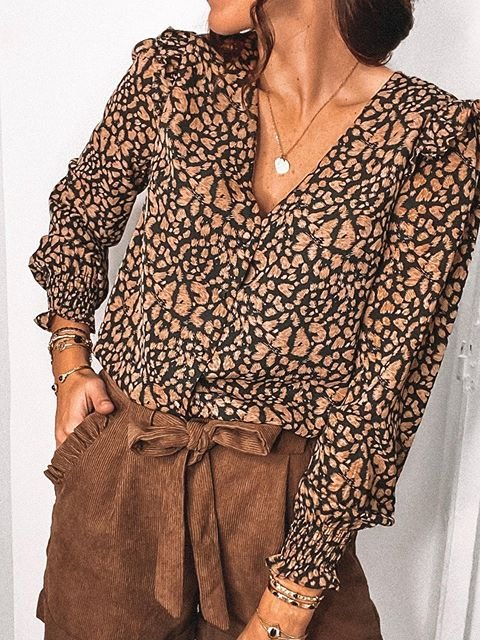 Casual Leopard Printed Long Sleeve Shirts & Tops